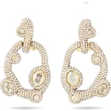 Tigris Pierced Earrings, White, Gold-tone plated - Swarovski, 5569110