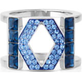 Karl Lagerfeld Logo Ring, Blue, Palladium plated - Swarovski, 5569549