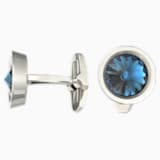Round Cufflinks, Blue, Stainless steel - Swarovski, 1095441