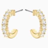 Mini Hoop Pierced Earrings, White, Gold-tone plated - Swarovski, 5022451