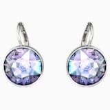 Bella Pierced Earrings, Purple, Rhodium plated - Swarovski, 5030703