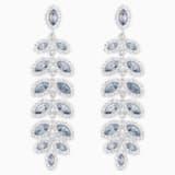 Baron Pierced Earrings, Blue, Rhodium plated - Swarovski, 5074350