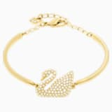 Swan Bangle, White, Gold-tone plated - Swarovski, 5083133