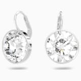 Bella Mini Earrings, White, Rhodium plated - Swarovski, 5085608