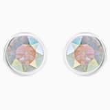 Solitaire Pierced Earrings, Multi-colored, Rhodium plated - Swarovski, 5101343