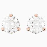 Pendientes Solitaire, blanco, Baño en tono Oro Rosa - Swarovski, 5112156