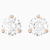 Solitaire 穿孔耳环, 白色, 镀玫瑰金色调 - Swarovski, 5112156
