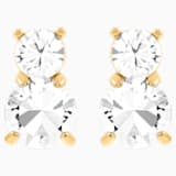 Solitaire Double Pierced Earrings, White, Gold-tone plated - Swarovski, 5128809