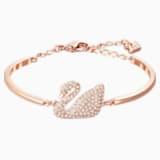 Bracelet-jonc Swan, blanc, Métal doré rose - Swarovski, 5142752
