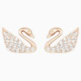Τρυπητά σκουλαρίκια Swan, λευκά, επιχρυσωμένα με ροζ χρυσό - Swarovski, 5144289