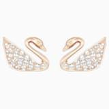 Swan 穿孔耳環, 白色, 鍍玫瑰金色調 - Swarovski, 5144289