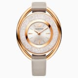 Reloj Crystalline Oval, Correa de piel, gris, PVD en tono Oro Rosa - Swarovski, 5158544