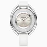 Crystalline Oval Saat, Deri kayış, Beyaz, Gümüş Rengi - Swarovski, 5158548