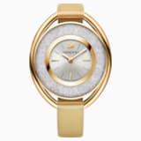 Crystalline Oval Watch, Fabric strap, Yellow, Gold-tone PVD - Swarovski, 5158972