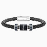 Diagonal Bracelet, Leather, Black, Stainless steel - Swarovski, 5159648