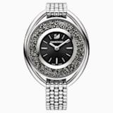 Crystalline Oval Часы, Металлический браслет, Черный, Оттенок серебра - Swarovski, 5181664