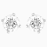 Attract Pearl 穿孔耳环, 白色, 镀铑 - Swarovski, 5183618