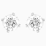 Attract Pearl Pierced Earrings, White, Rhodium plated - Swarovski, 5183618