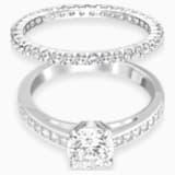 Conjunto de anéis Attract, brancos, banhados a ródio - Swarovski, 5184982