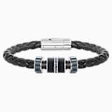 Pulsera Diagonal, Piel, negro, acero inoxidable - Swarovski, 5185336