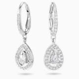 Attract Pierced Earrings, White, Rhodium plated - Swarovski, 5197458