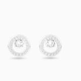 Pendientes Creativity Circle, blanco, Baño de Rodio - Swarovski, 5201707