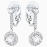 Attract Clip Earrings, White, Rhodium plated - Swarovski, 5213594