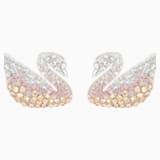 Τρυπητά σκουλαρίκια Κύκνος Swarovski Iconic Swan, πολύχρωμα, επιροδιωμένα - Swarovski, 5215037