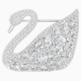 Swan Lake Brooch, White, Rhodium plated - Swarovski, 5240582