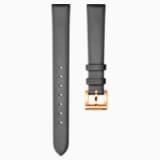 Cinturino per orologio 12mm, Pelle, grigio scuro, placcato color oro rosa - Swarovski, 5242460