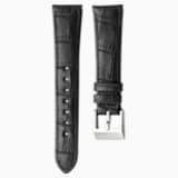 14mm 錶帶, 皮革飾以縫線, 深啡色, 不銹鋼 - Swarovski, 5263533