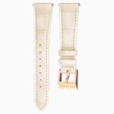 18mm 錶帶, 皮革飾以縫線, 米色, 鍍玫瑰金色調 - Swarovski, 5263559