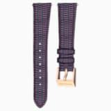 Bracelet de montre 18mm, cuir avec coutures, violet, métal doré rose - Swarovski, 5263560