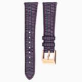 18mm 錶帶, 皮革飾以縫線, 紫色, 鍍玫瑰金色調 - Swarovski, 5263561