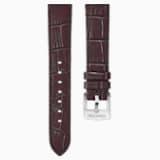 Cinturino per orologio 18mm, marrone scuro, placcato color oro rosa - Swarovski, 5263562