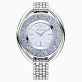 Crystalline Oval Watch, Metal bracelet, Blue, Silver tone - Swarovski, 5263904
