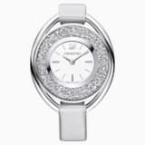 Crystalline Oval Watch, Fabric strap, Gray, Silver tone - Swarovski, 5263907