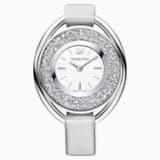 Crystalline Oval Watch, Fabric strap, Gray, Silver tone - Swarovski, 5263907