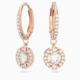 Swarovski Sparkling Dance Round Pierced Earrings, White, Rose-gold tone plated - Swarovski, 5272367