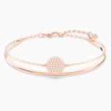 Ginger Жёсткий браслет, Белый Кристалл, Покрытие оттенка розового золота - Swarovski, 5274892