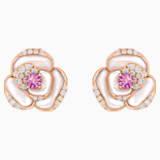 18K RG Geranium Pierced Earrings - Swarovski, 5294528