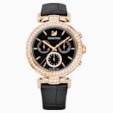 Era Journey Часы, Кожаный ремешок, Черный Кристалл, PVD-покрытие оттенка розового золота - Swarovski, 5295320