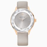 Ρολόι Octea Nova, δερμάτινο λουράκι, γκρι, PVD σε χρυσή ροζ απόχρωση - Swarovski, 5295326