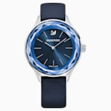 Octea Nova Watch, Leather strap, Blue, Stainless steel - Swarovski, 5295349