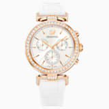 Era Journey Watch, Leather strap, White, Rose-gold tone PVD - Swarovski, 5295369