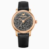 Crystalline Hours Watch, Leather strap, Black, Rose-gold tone PVD - Swarovski, 5295377