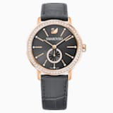 Graceful Lady Watch, Leather strap, Gray, Rose-gold tone PVD - Swarovski, 5295389