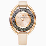 Crystalline Oval Watch, Leather strap, Beige, Rose gold tone - Swarovski, 5296319