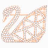 Facet Swan 胸針, 白色, 鍍玫瑰金色調 - Swarovski, 5297353