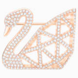 Facet Swan Brooch, White, Rose-gold tone plated - Swarovski, 5297353